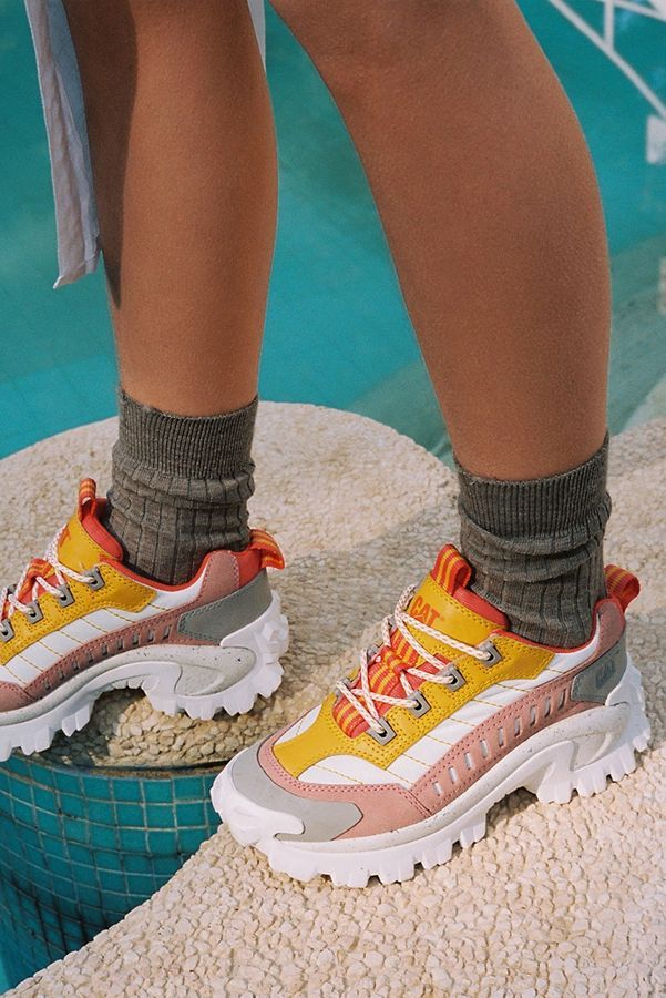 Yellow + Pink Chunky Trainers