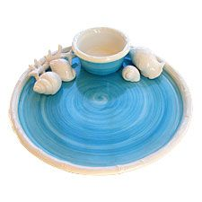 Beach Decor Turquoise & White Chip & Dip Server