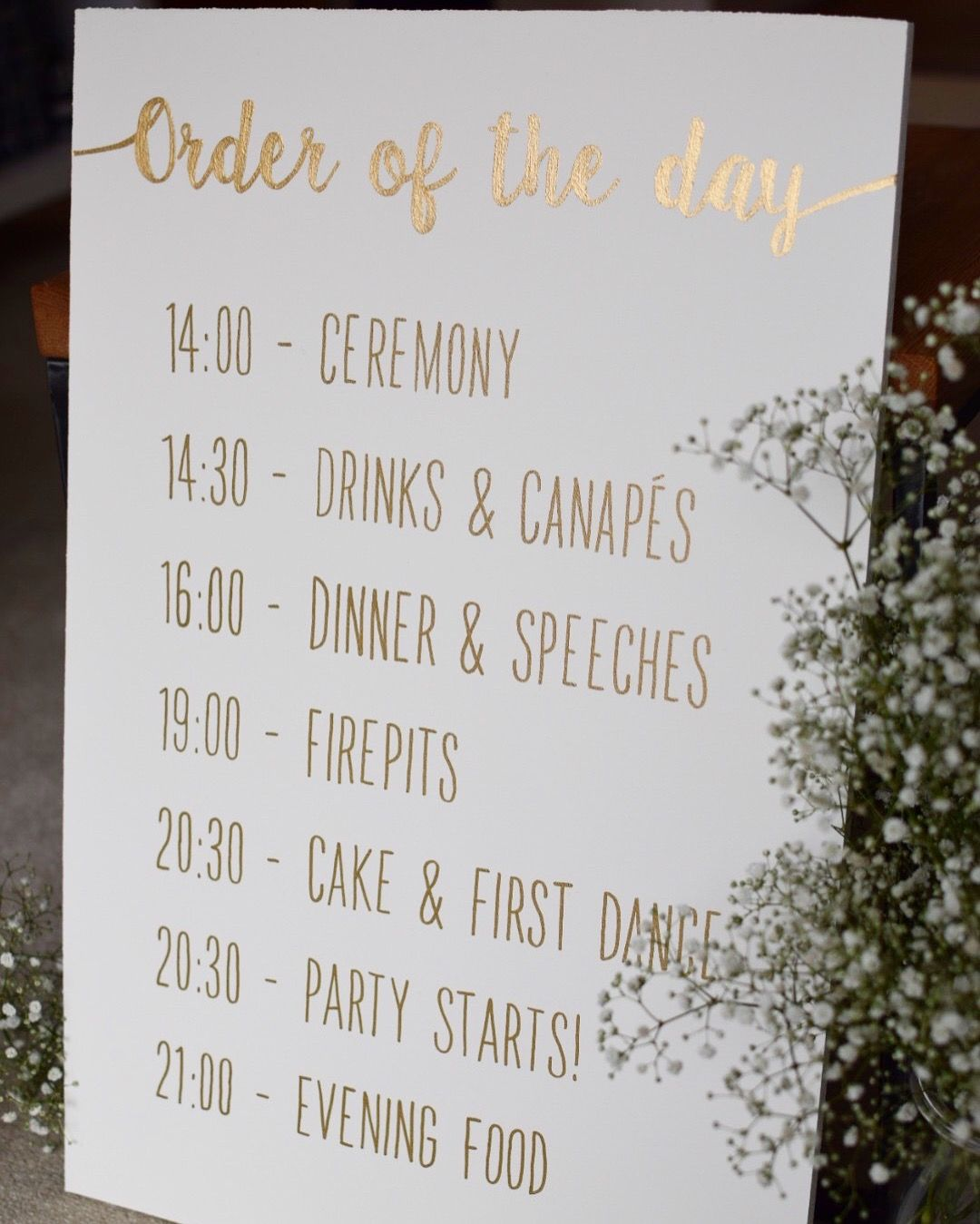 Order Of The Day Hand Painted Wooden Sign Wedding