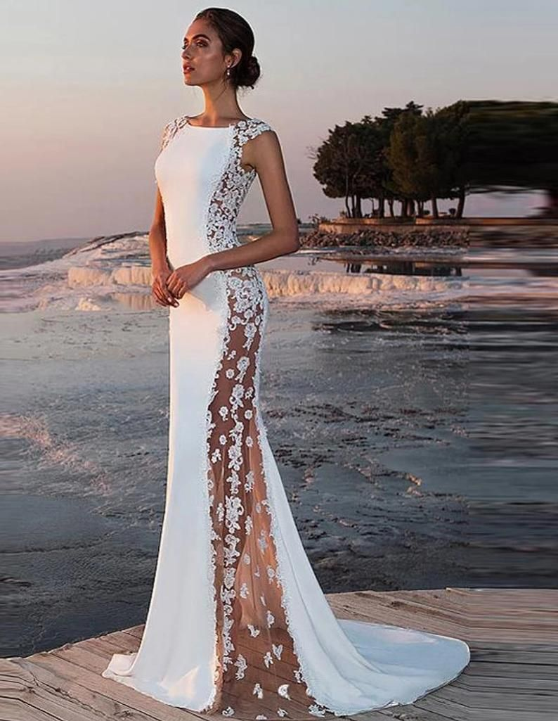 SILIA illusion wedding dress, ethereal dress, beach