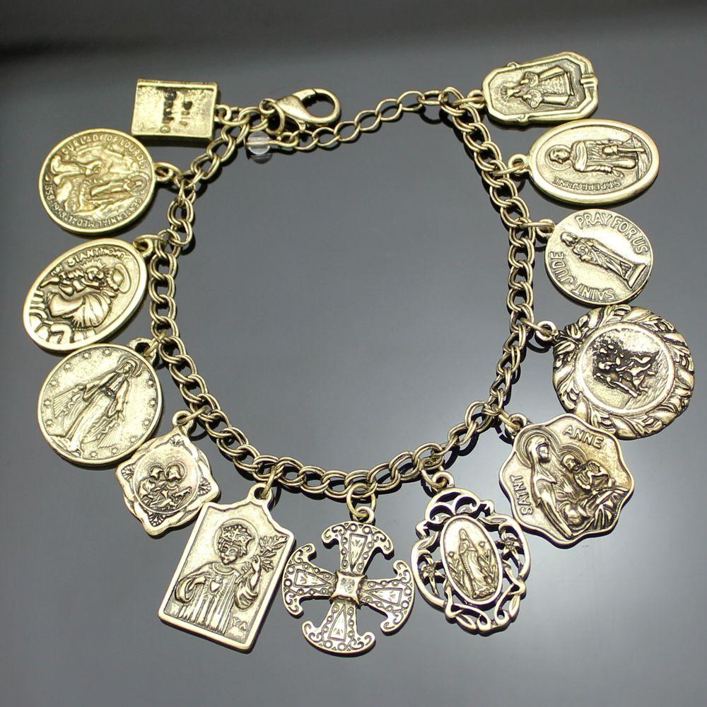 0eea15549b39 Medallas Religiosas de La Iglesia católica Santos RUEGA POR NOSOTROS Cruz  Pulsera de Cadena Brazalete de