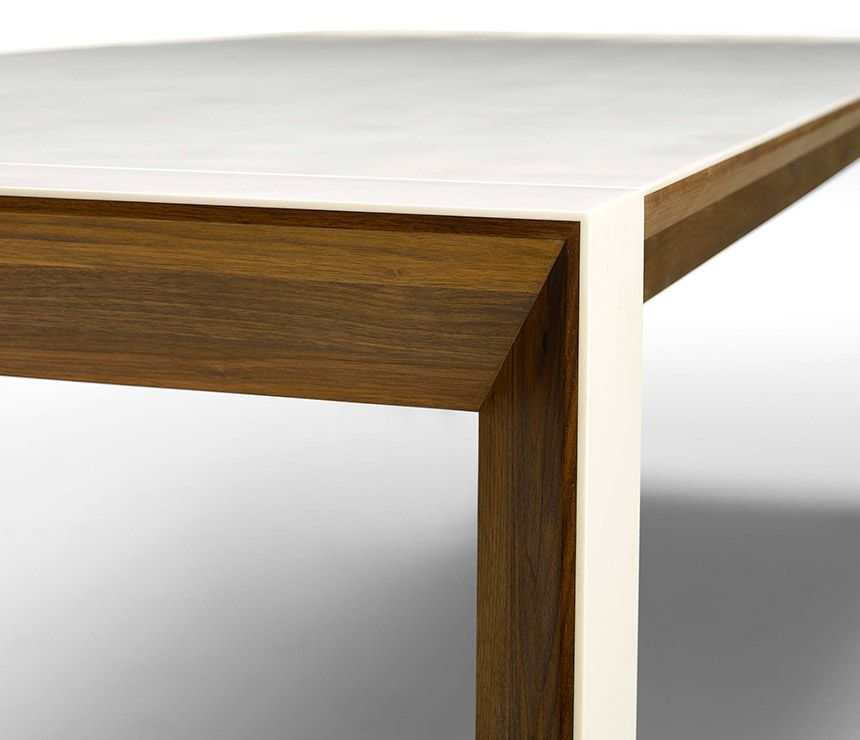 Corian And Walnut Extending Dining Table Image 2   Medium Sized