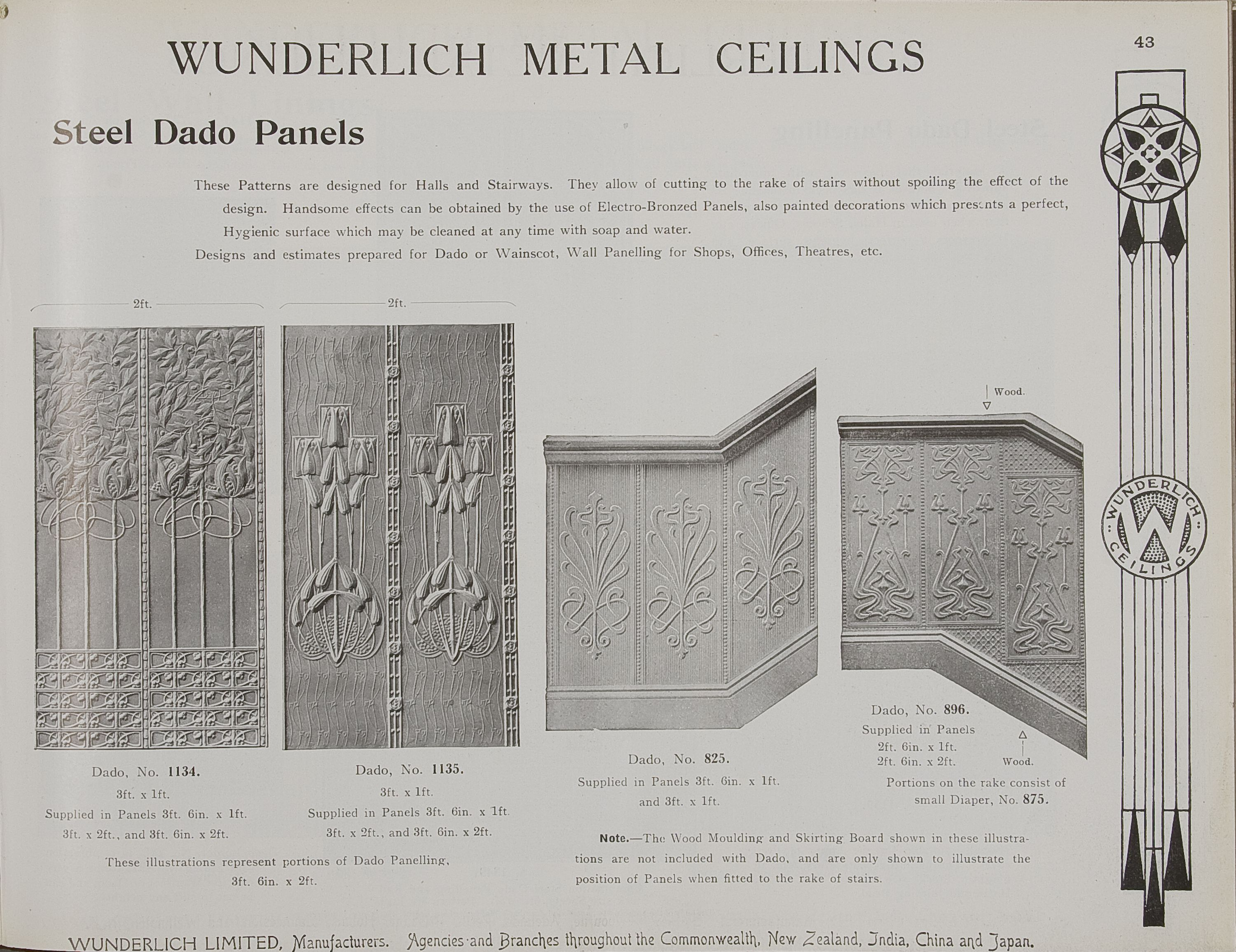 Catalogue page, page 43 of 'Abridged General Catalogue of Metal Ceilings, Wall Linings and Stamped Metal for Exterior and Interior Decoration', Wunderlich Limited, Redfern, New South Wales, Australia, September 1912  Page 43 of 'Abridged General Catalogue of Metal Ceilings, Wall Linings and Stamped ...