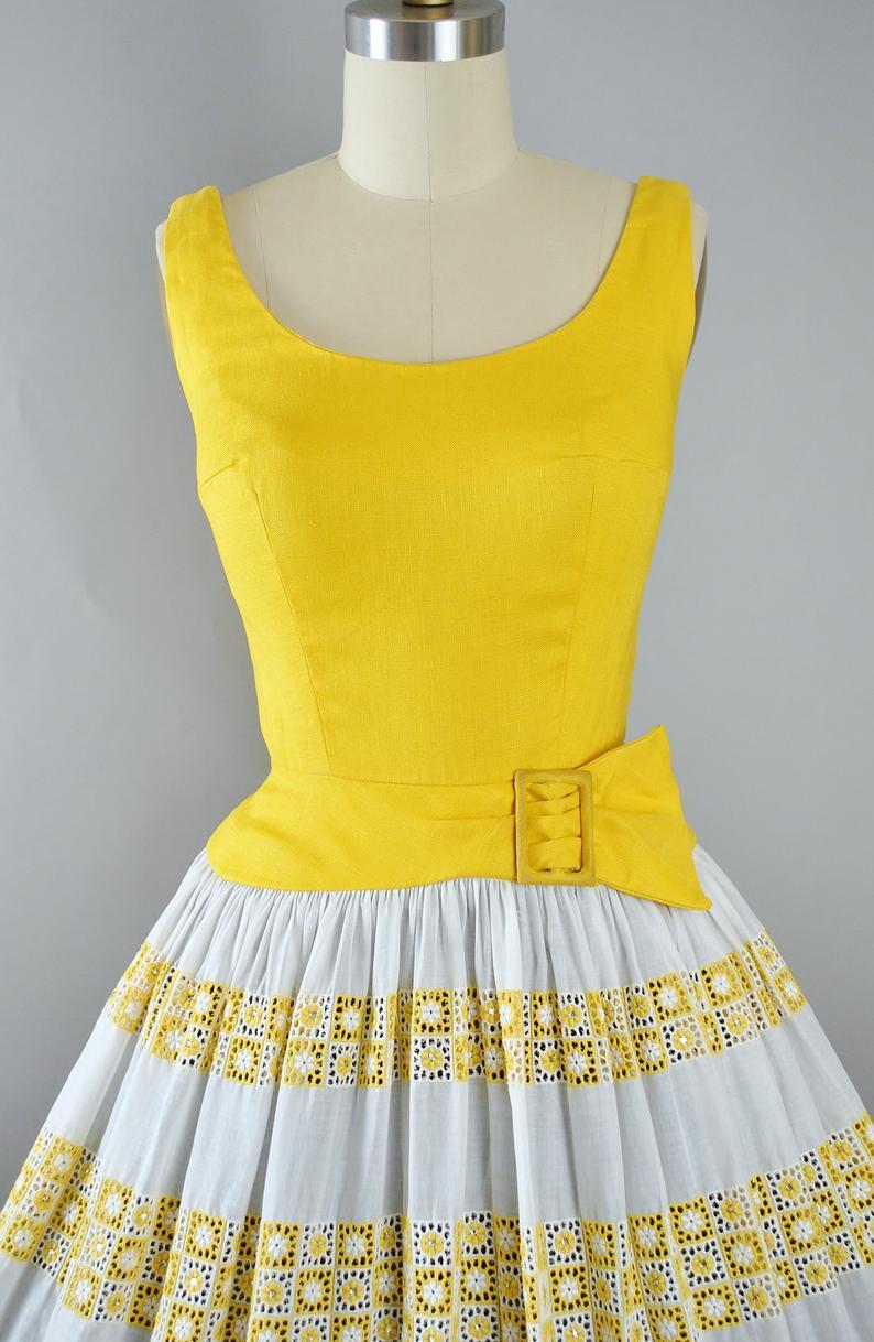Vintage 50s Dress 1950s Yellow Cotton Sundress Eyelet Etsy Vintage Dresses 50s Vintage Summer Dresses Vintage Dresses Online [ 1218 x 794 Pixel ]