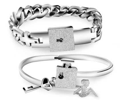 His /& Hers Lock and Key Couple Bracelet Lovers Friendship Chain Bangle