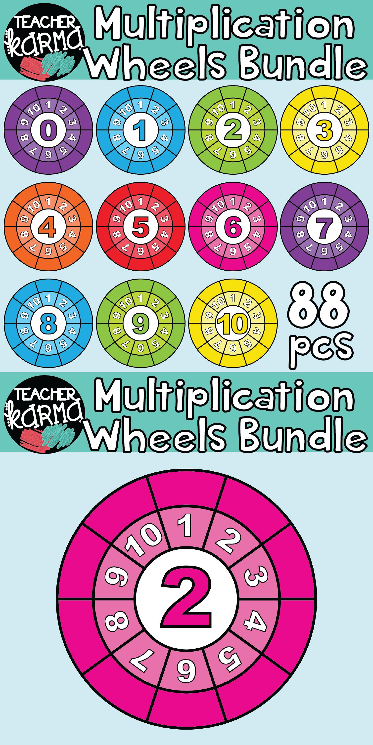 Multiplication Wheels BUNDLE: 104 Pieces MATH CLIPART ...
