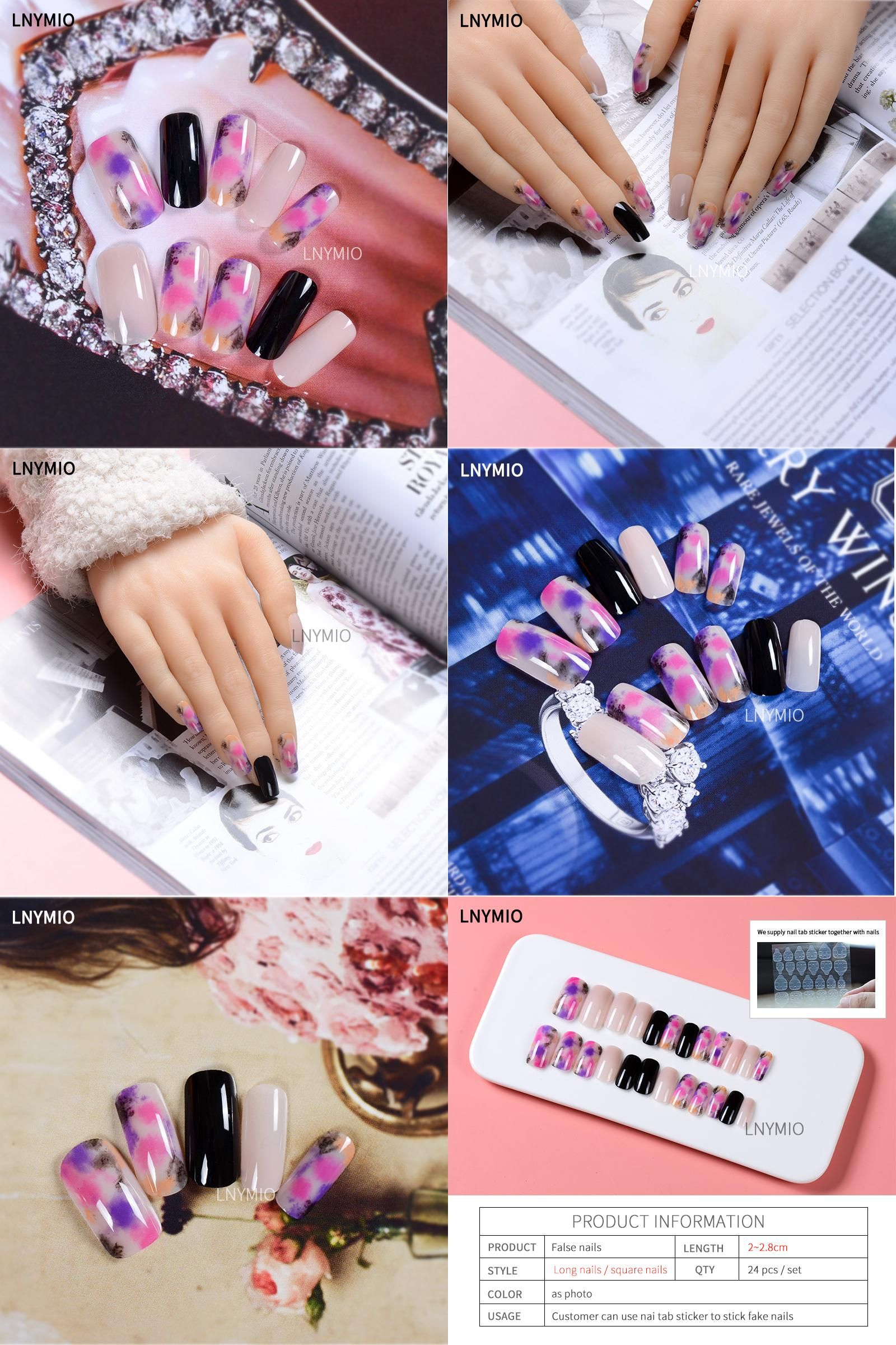 Visit to Buy] Dyeing fake nails long color artificial nails pink ...