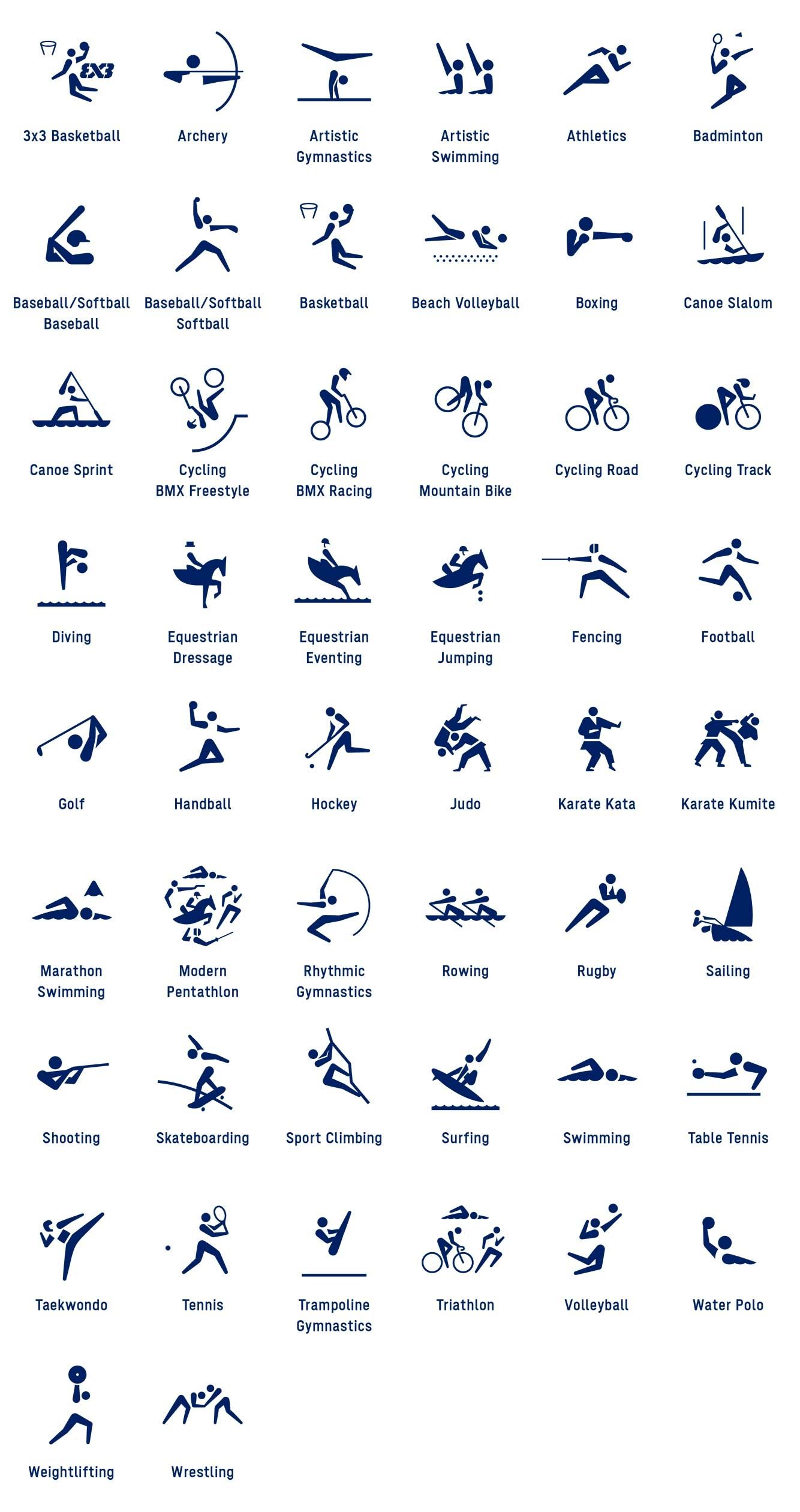 Tokyo 2020 Unveils Olympic Games Sport Pictograms. Designs