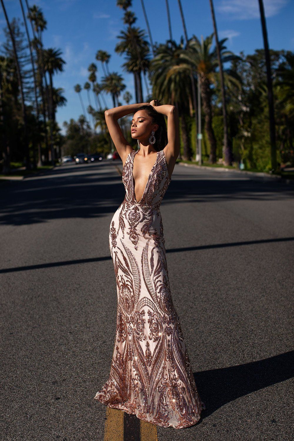 523943dd79d Luxe Maurita Rose Gold Sequin Prom Formal and Evening Dress