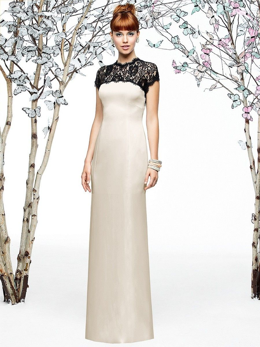 Lace dress rose  Lace crowns the sheath silhouette of Dessy Lela Rose LX