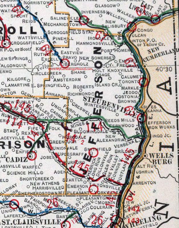 Brilliant Ohio Map.Jefferson County Ohio 1901 Map Steubenville Wintersville