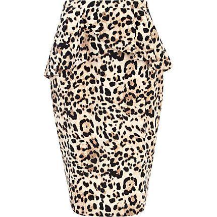 Brown leopard print peplum pencil skirt - midi skirts - skirts - women 93480d27b