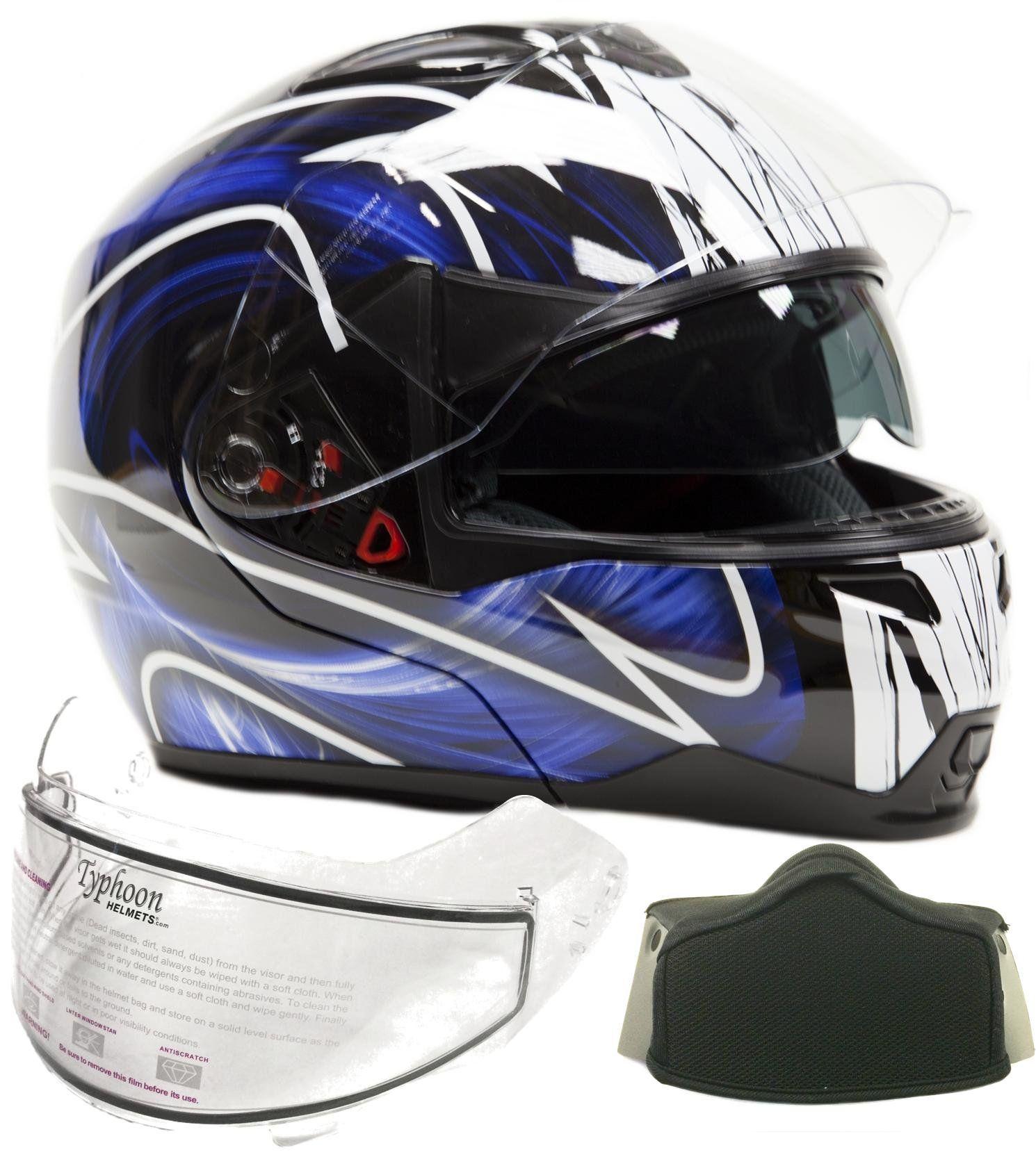 Dual Visor Modular Flip Up Snowmobile Helmet Black Blue Xl Retractable Tinted Sun Visor Smooth Opening And Closi Snowmobile Helmets Helmet Snowmobile