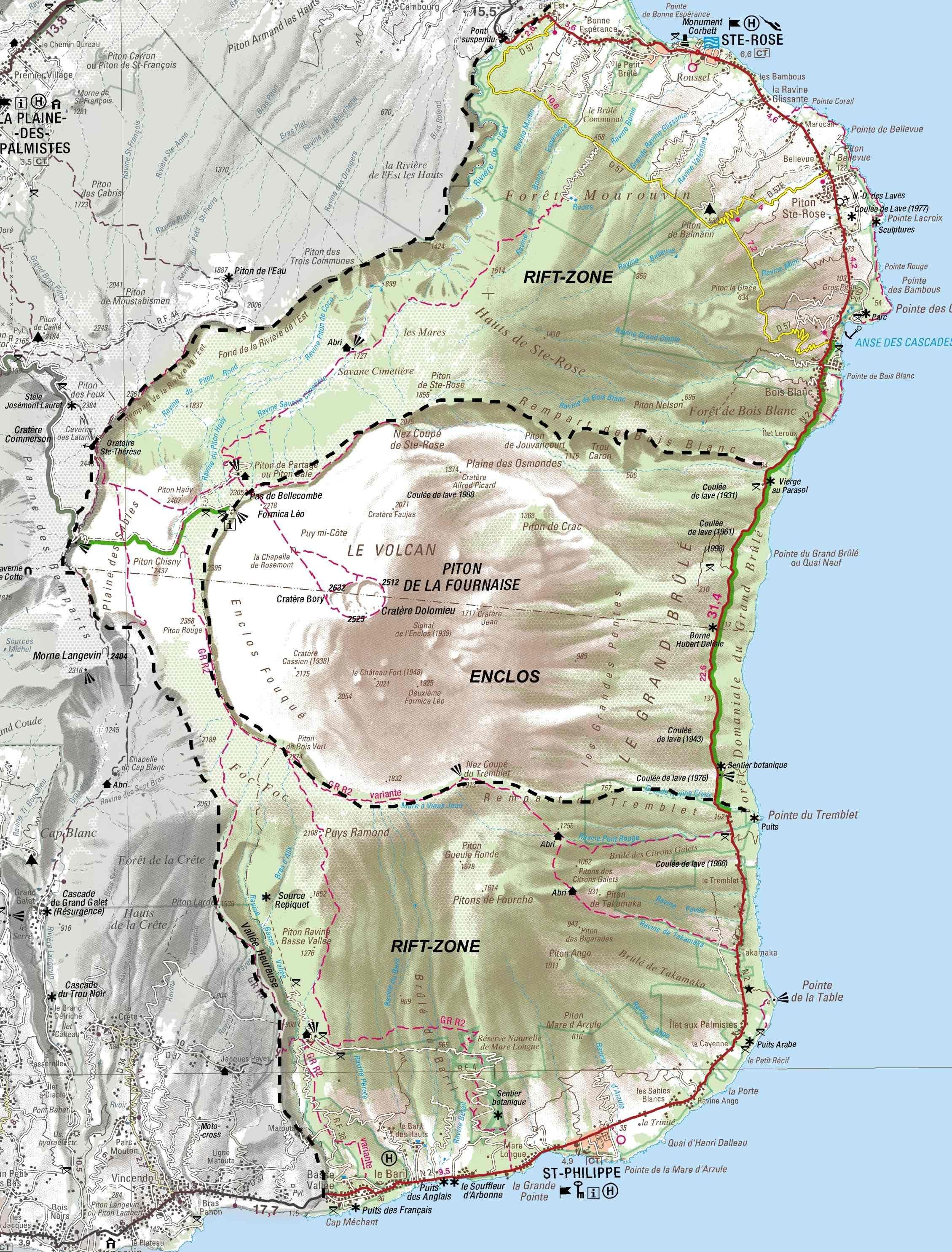 piton de la fournaise carte La Réunion : carte du Piton de la Fournaise (avec images)   Piton
