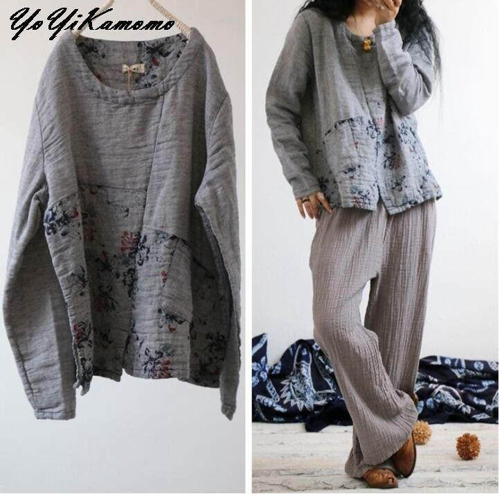 956ae4f9ac2f YoYiKamomo 2018 women cotton linen shirt spring vintage new original long  sleeve floral shirt casual women tops