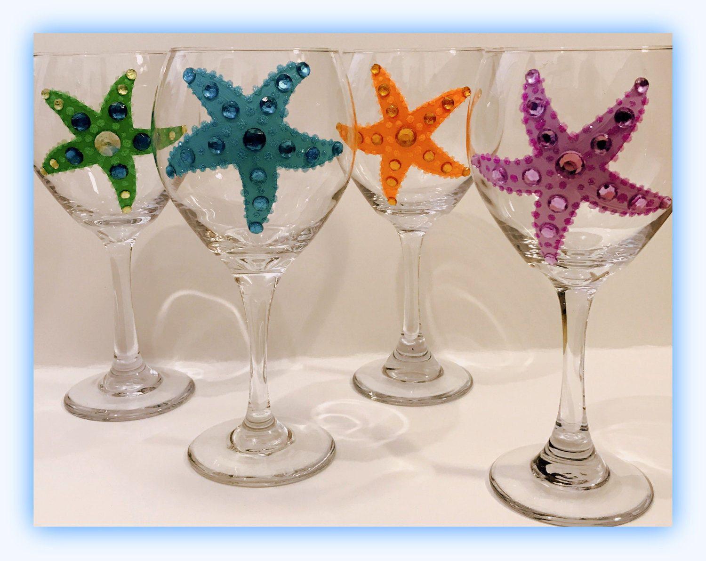 Beach Wedding Wine Glasses, Starfish Wine Glasses, Personalized Wine ...