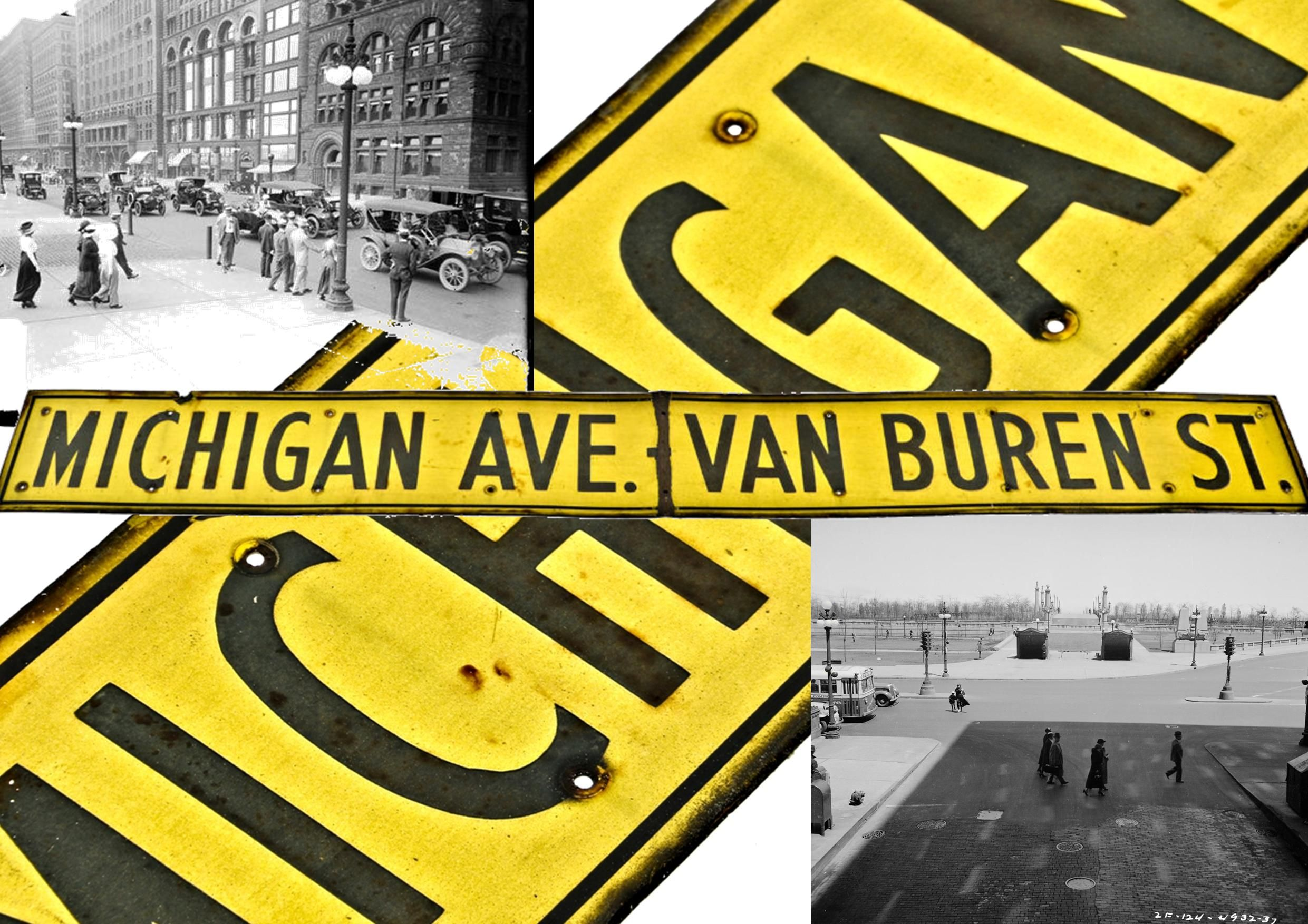 Old Downtown Chicago Street Sign Sheds Light On The Corner Of