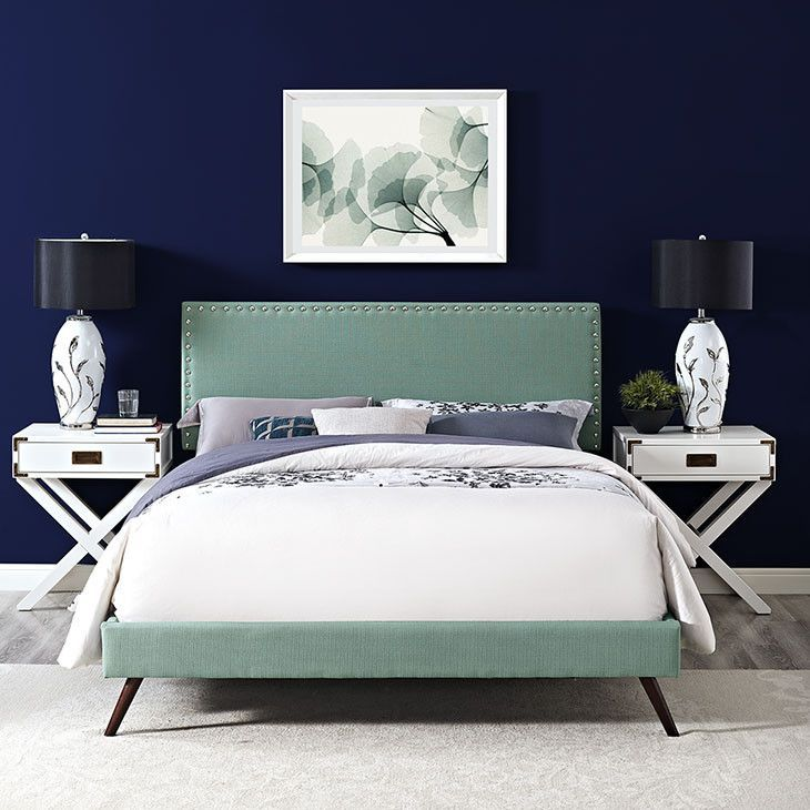Lyka King Fabric Platform Bed With Round Splayed Legs