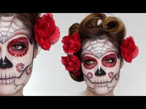 Easy Sugar Skull | Day Of The Dead MakeUp Tutorial For Halloween ...
