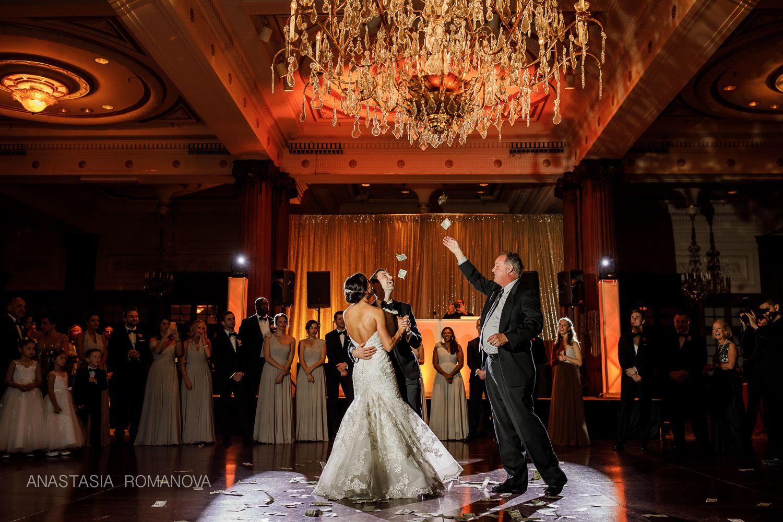 Crystal Tea Room Philadelphia Wedding Dollar Dance Greek Wedding Reception Anastasia Romanova Photography Wedding First Dance Greek Wedding Tea Room