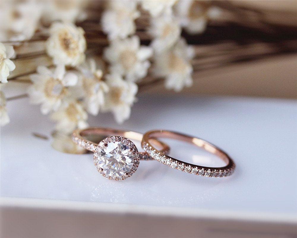 6.5mm Brilliant Moissanite Engagement Ring Set by JulianStudio