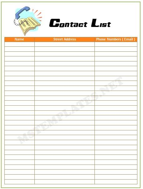List Template Word Free Contact List Template Word  Childcare  Pinterest  Microsoft .