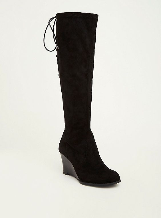 b9441f942dd7 Faux Suede Lace Up Back Wedge Boots (Wide Width & Wide Calf), BLACK