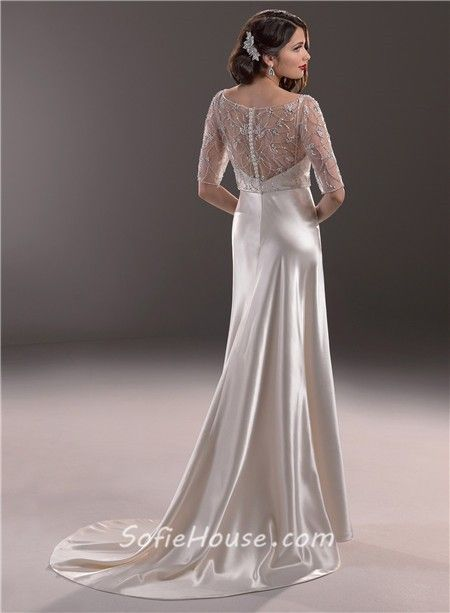 Hollywood Glamour Sheath Sweetheart Satin Wedding Dress With Short Sleeve Jacket 1 Jpg 450 613 Pixels Heidi Schramm And Greg Braithwaite Pinterest