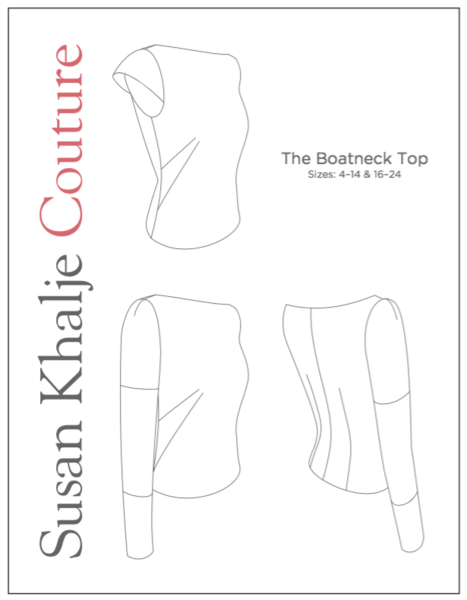 An elegant boat-neck top pattern with a pair of French darts on each side  front, and vertical darts at the back. It can be sleeveless, or made with  one of 3 ... 8dc45fb1b51