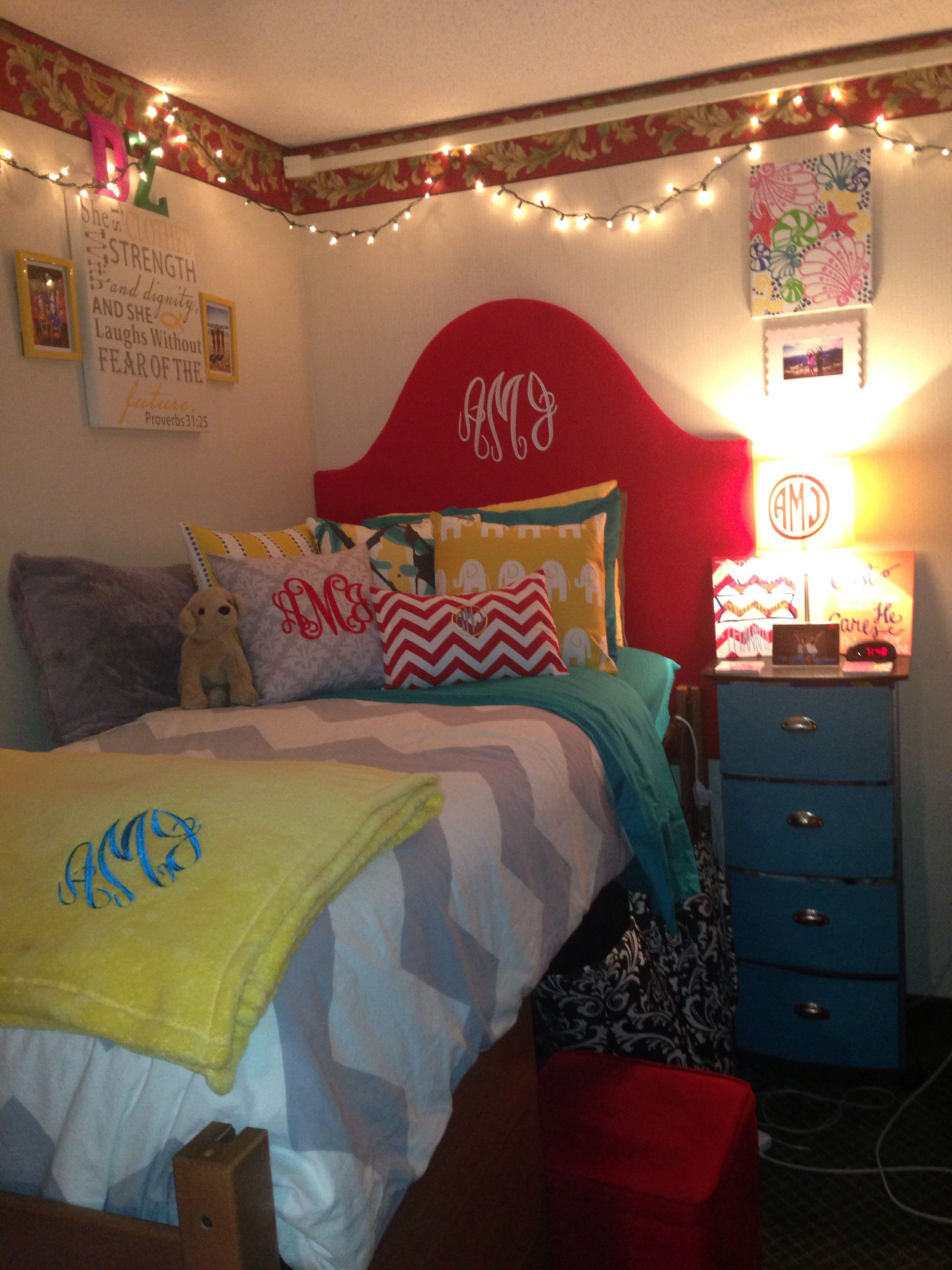 Dorm room I love the idea of making a headboard for your dorm bed