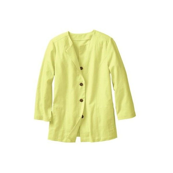 New No-Hassle Linen Collarless Jacket ($35) ❤ liked on Polyvore featuring outerwear, jackets, citron green, pocket jacket, yellow jacket, 3/4 sleeve jacket, womens plus size jackets and collarless jacket