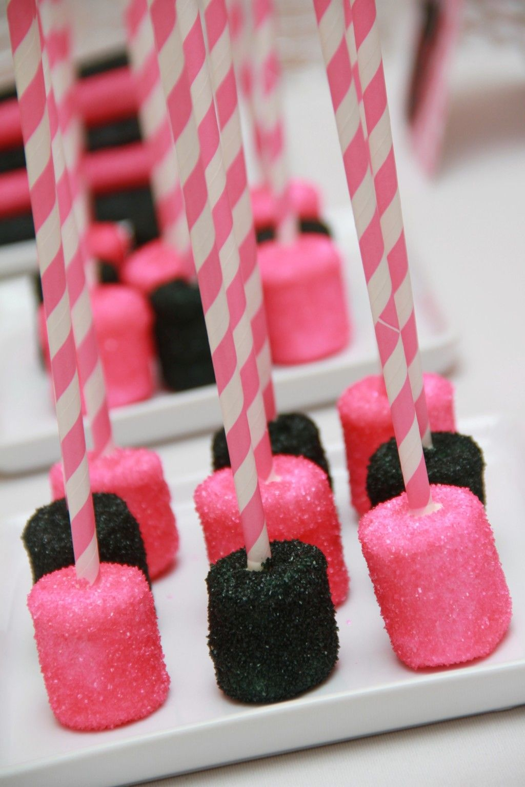 Hot Pink Black Chocolate Covered Marshmallows Pink