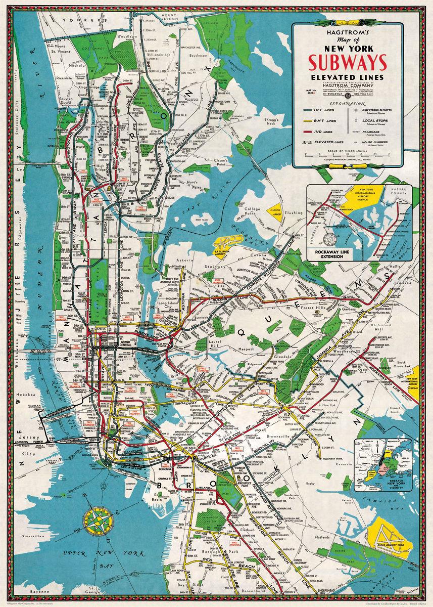 Nyc Subway Map Ebay.5 York City Subways Map Poster Cavallini Co 20 X 28 Wrap Ebay