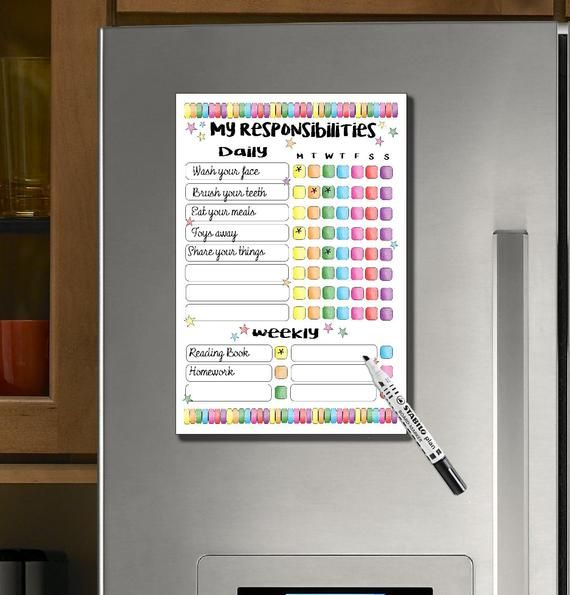 Photo of Kids, Responsibility chart, Reward Chart, Incentive Chart, Kids Routines, Magnetic, dry erase, Daily