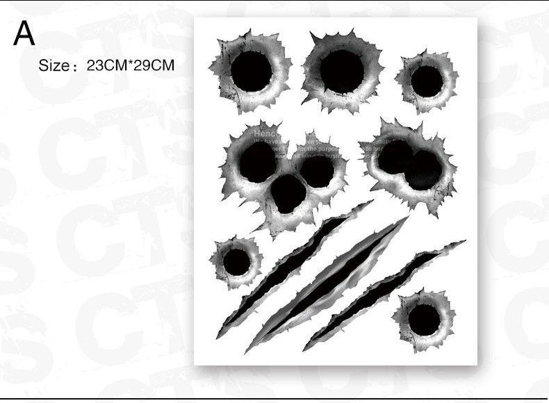Crack Sticker Funny Car Stickers 3D Bullet Hole Design Scratch Sticker Decals