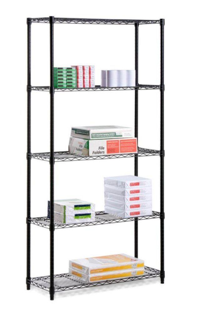 Five tier black storage shelves 350lb 180$ 16x36x72 | Wire Shelving ...
