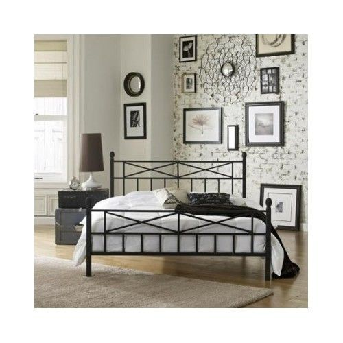 Queen Size Platform Bed Frame Black Metal Headboard Footboard Modern ...