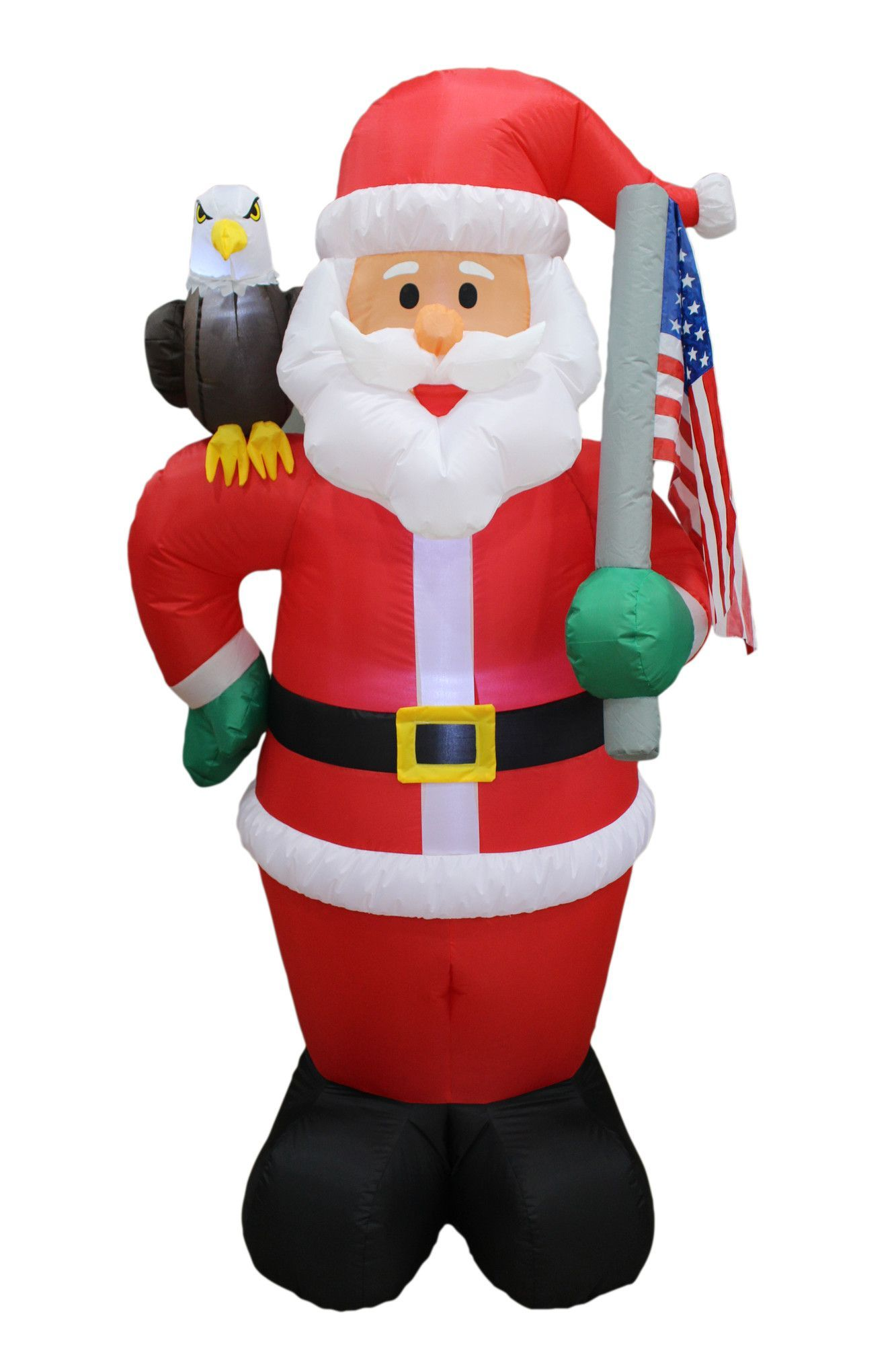 10 piece tall christmas inflatable patriotic santa claus with eagle and american flag set - Outdoor Christmas Inflatable Yard Decorations
