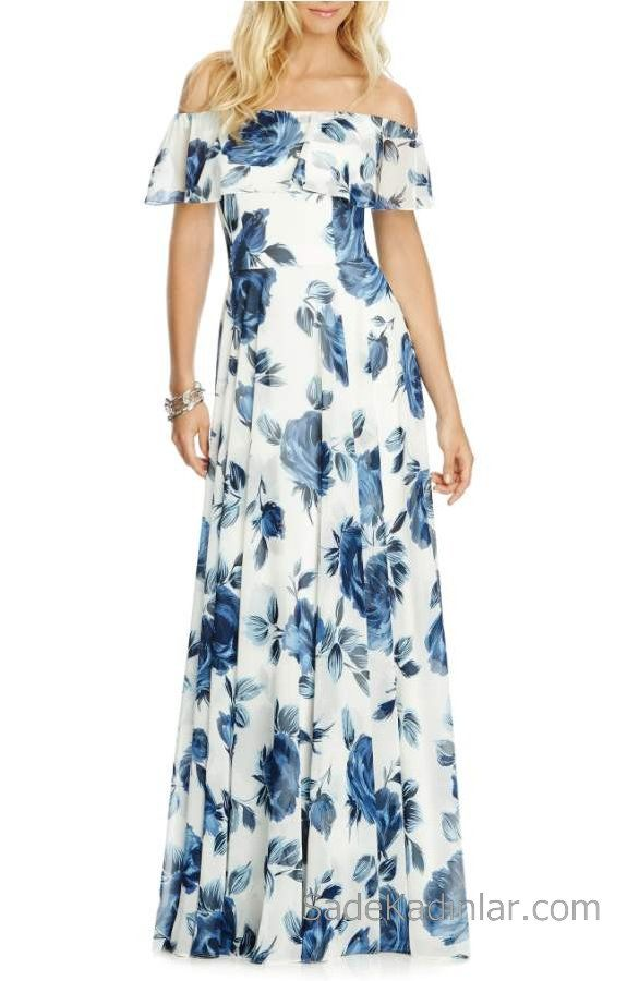 2020 Yazlik Cicekli Sifon Elbise Modelleri Beyaz Uzun Straplez Cicek Desenli Sifon Elbise Elbise Elbise Modelleri