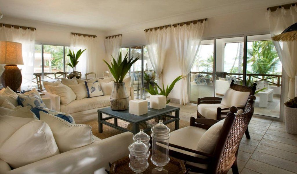 White Curtain For Tropical Living Room Decorating Ideas With ...