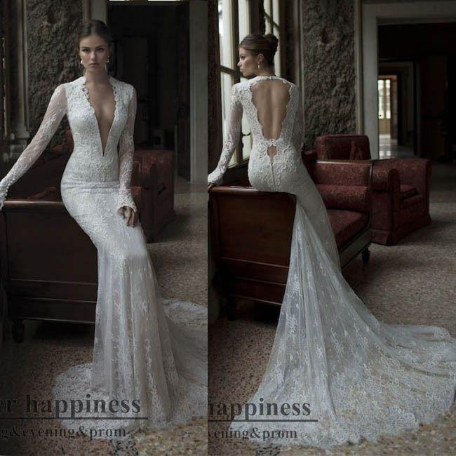 Discount Simple Elegant Open Back Long Sleeve Wedding: Vestidos De Noivas 2014 Sexy Mermaid Open Back Lace