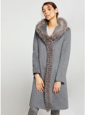 Cappotto grigio in lana con inserto in volpe | Kadın modası