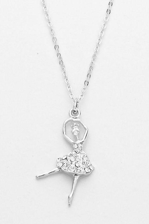 Sparkling Ballerina Necklace in Silver