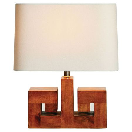 Acacia Table Lamp With A Greek Key Motif And Oval Linen Shade Product Lampconstruction Material Acacia Wood Table Lamp Accent Lamp Lamp