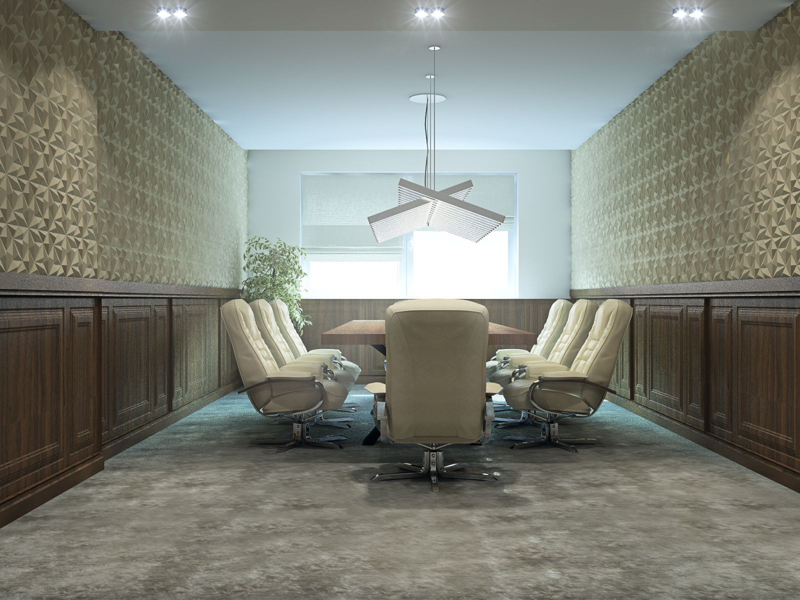 Office boarding room with Arte wallpaper and Vibia Rhythm ...