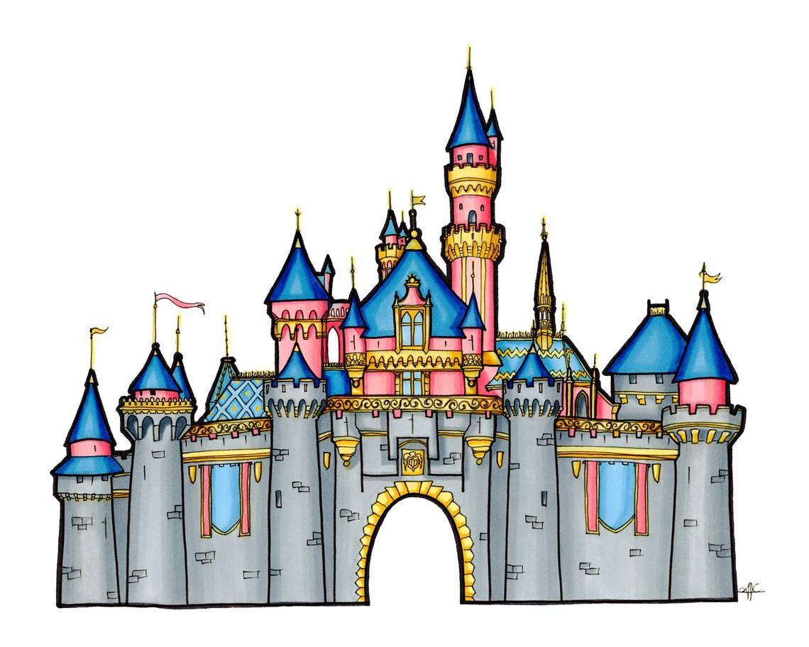 Disney Castle Drawing Sleeping Beauty Castle Illustration Etsy