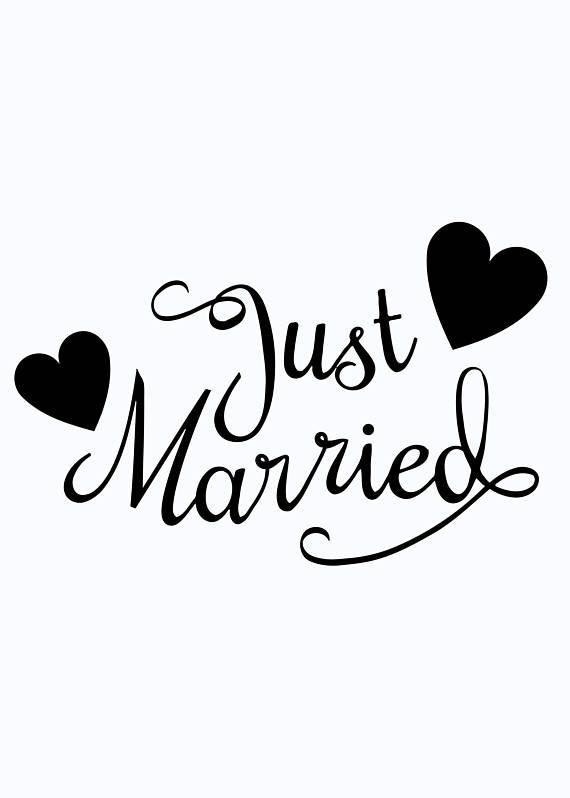 Just married car window decal if you need a custom size not listed just contact us and we will add it for you size 14 long decalwe also create custom one