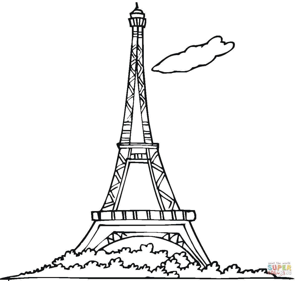 Eiffel Tower Coloring Page From France Category Select From 27538