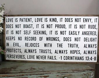Love Is Patient Love Is Kind Sign Love Never Fails Framed Sign 1 Corinthians 13 4 Scripture Home Decor Bib Bible Verse Signs Love Is Patient Love Wood Sign