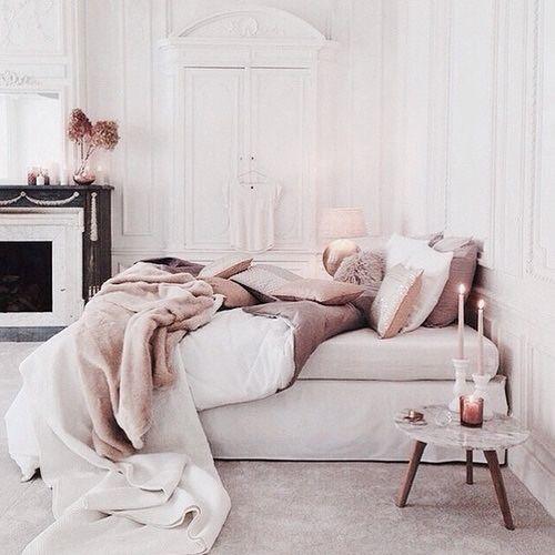 Home Design Chambre Cozy Rose Poudrée Et Blanche Idée